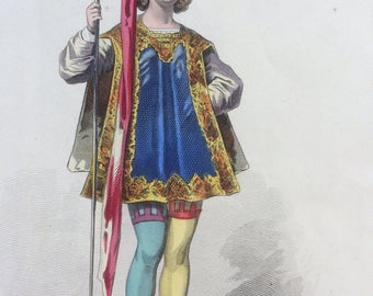 Hand-coloured original antique print by Francois Claudius Compte-Calix - Historical Costume - Page Louis XII - French Fashion