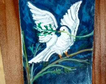 ACEO  Original  small painting Dove with olive branch Artist  trading card