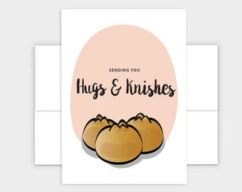 Sending You Hugs & Knishes Funny Jewish Greeting Card