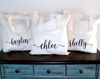 Bridesmaid Tote Set of 7 - Bridesmaid Bag - Bridesmaid Gift Bag - Bridesmaid Box - Bridal Party Bag - Wedding Tote - Personalized Tote Bag
