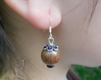 Wenge Wood Beads Blue & Silver Enamel Bead Caps 925 Sterling Silver Hook Earrings Dangel Earrings Drop Earrings