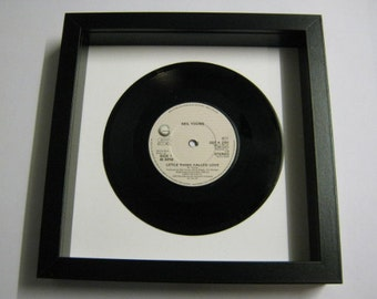 """Neil Young """"A Little Thing Called Love"""" Special Unique Wall Framed 7"""" Vinyl Record Gift/Present"""