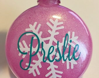 Snowflake Ornament, Personalized - Glass