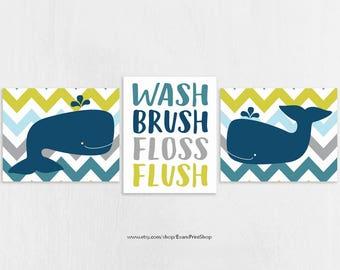 Whale Bathroom Art Prints Set Of 3 Whale Bathroom Decor Kids Bathroom Decor