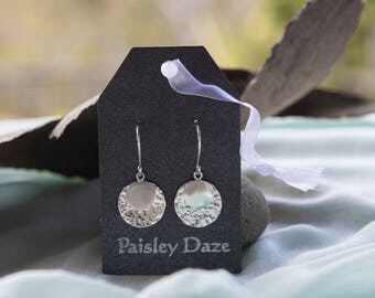 Sterling Silver Drop Earrings - Silver Discs - Hammered Silver Discs - Silver Jewellery - Paisley Daze Designs