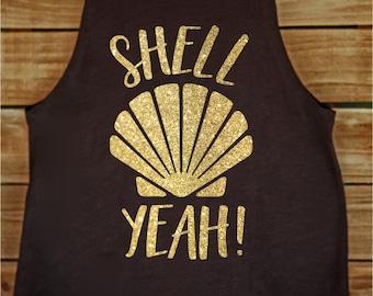Shell Yeah Gold Glitter Mermaid Tank Top Tee Shirt Black