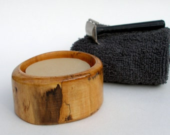 Wood Shaving Bowl, Rustic Shaving Bowl made from Windfall Wood with Choice of Handmade Cold Process Shaving Soap