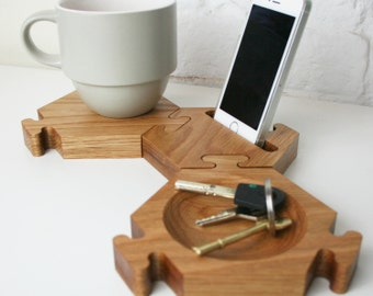 Chunky Natural Oak Desk Tidy - Hexagon Desk tidy - Office tidy - Phone stand -Jigsaw coaster - gift for colleagues - Oak Desk tidy - storage