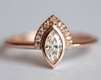 Gold Engagement Ring, Rose Gold Diamond Ring, Delicate Diamond Engagement Ring, Marquise Diamond Ring, Unique Diamond Ring, Dainty Wedding