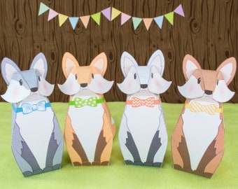 DIY Fox Favor Boxes, DIY Woodland Party Favors, Printable PDF Gift Boxes, Woodland Baby Shower Favors, Birthday Favor Box, Paper toy Fox