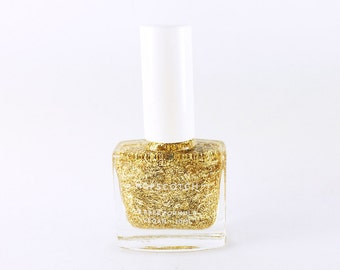 5 Free Nail Varnish • Vegan • Cruelty Free • Made in London by Hopscotch — Gold Glitter Top Coat