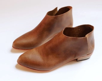 The Terilyn. Waxy Antique Brown. 2cm. Brown handmade ankle boots. Made to order.