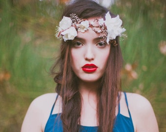 Willow-Whimsical Flower Crown with Pearl Details