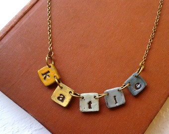 Fiesta Necklace - Name necklace on little tiles - Concrete