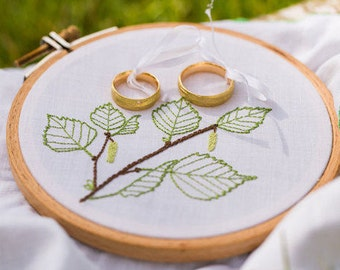 Green wedding ring bearer pillow with birch leaves {hand embroidered with love} for a summer wedding