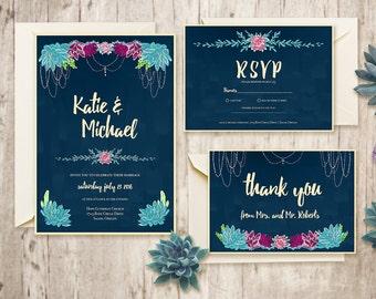 Individuelle Hochzeitseinladung zum Sofort Download, Garten Boho Hippie Hochzeit