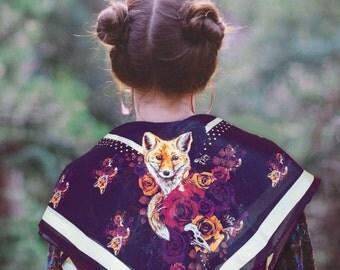 Bohemian FOX Silk Scarf Indigo Purple Floral Silk Wrap Summer Accessory Wildlife Nature Lover Cute Boho Folk Art Neckerchief Bandana Shawl