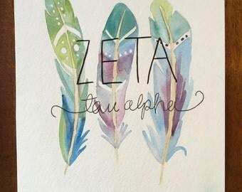Zeta Tau Alpha Watercolor painting