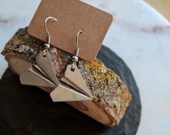 Paper Airplane Earrings, Antique Silver
