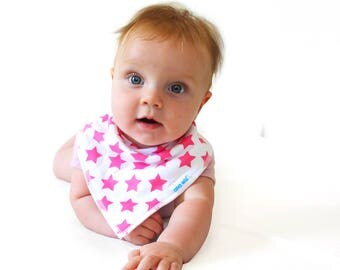 Premium Baby Bandana Bibs, 100% Organic Cotton, Set of 5 Unique Designs (Girls Set)