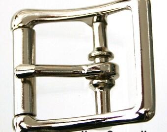 "3/4"" buckle - center bar - true roller - 10 pack - nickel plated steel buckles (#1207)"
