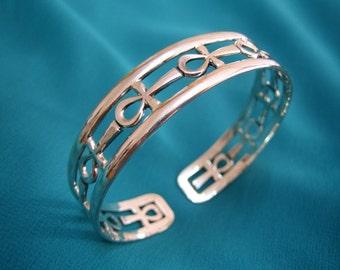 Pretty Egyptian Sterling Silver Ankh Bracelet open work, Egyptian bracelet, Ankh bracelet, valentines gift