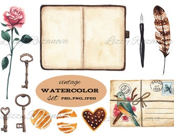 Vintage watercolor set. Hand painted illustration PSD