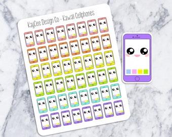 Kawaii Cellphone Stickers / Planner Stickers /  Fits Erin Condren & MAMBI Filofax / Kikki K / Scrapbook / Journal