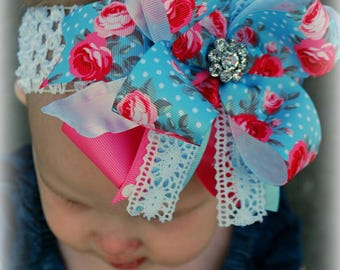 Rhinestone & Roses Over The Top Boutique Hairbow Light Blue And Pink