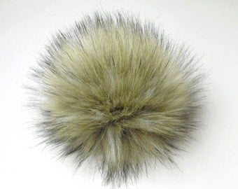 Size S ( light beige- black tips ) faux fur pom pom 4.5 inches/ 12cm