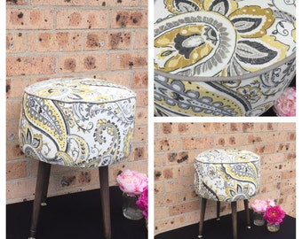 SOLD- Round Upholstered footstool/sidetable, ottoman,pouffe,pouf,foot stool on legs