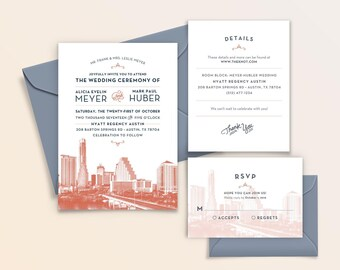 Austin, Texas City Skyline 5-Piece Wedding Invitation Package