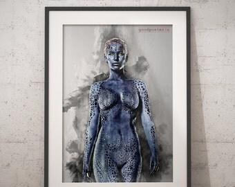 Mystique print X-men print wall art home decor