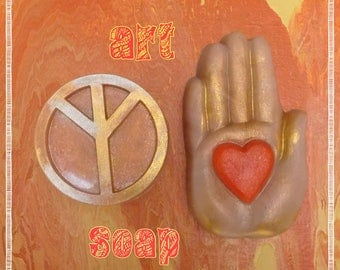HIPPIE GIFT SET,hippie decor,peace sign art,heart and hand,peace symbol art,yoga gifts for her,yoga gift set,yoga bath and beauty,60s gift