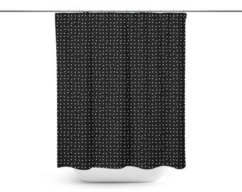 Small Squares Shower and Bath Curtain Black and White
