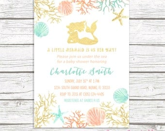 Mermaid Baby Shower Invitation, Under the Sea Baby Shower Invitation, Mermaid Theme Baby Shower Invite Girl, Gold Mermaid Printable
