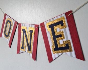 Baseball highchair banner, I AM ONE, Vintage Baseball Birthday, First Birthday Highchair banner