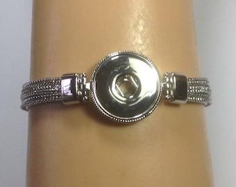 Hi Gloss SILVER TOGGLE SNAP Bracelet...fits 18-20mm snaps
