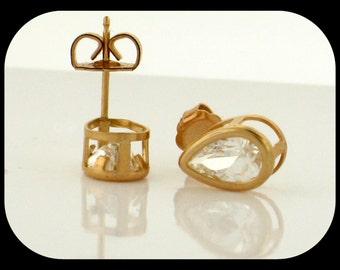New 14K Yellow Gold CZ Cubic Zirconia 8X5MM Pear-Cut Bezel Basket Stud EARRINGS