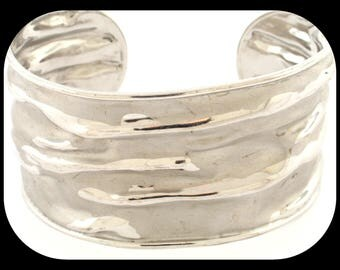 New Italy Designer Repousse Matte 925 Sterling Silver Modern Design Wide Cuff BRACELET
