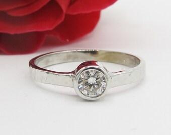 Artisan Diamond Bezel Hammered Engagement Ring 14k White Gold
