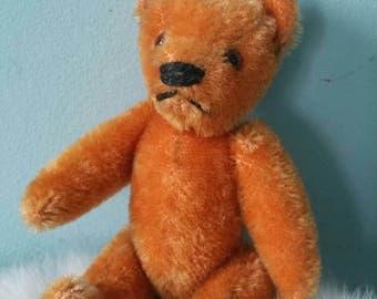 Sweet vintage miniature teddy bear! Orange stuffed bear toy vintage decorative