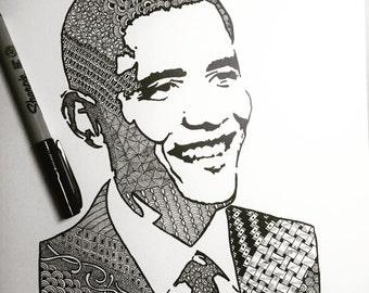 Barack Obama Art Print zentangle inspired art
