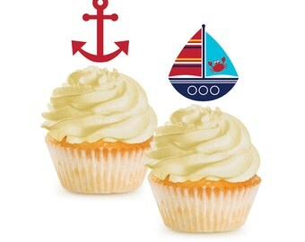 Nautical, Cupcake Toppers, Nautical Baby Shower, Anchor, Cupcake Picks, Nautical Party, Nautical Birthday, Sailor Party, Ahoy its a Boy