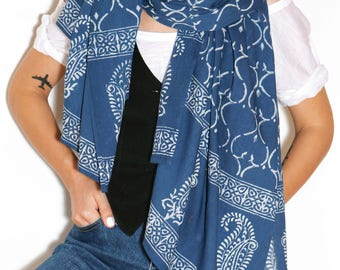Cotton scarf, blue scarf, cotton scarf for women, summer scarf, light scarf, scarf with handmade print, unique scarf, beautiful scarf, boho