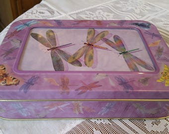 Vintage Rectangular Purple Picture Frame Dragonfly Tin, Card Tin, Greeting Card Tin, Stationary Tin, Sewing Tin, Purple, Dragonfly, Picture