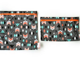 2 Reusable bags - one snack bag one sandwich bag - foxes