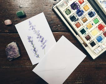 Purple flower watercolour handmade greetings card.