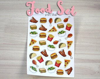 Food Planner Stickers fries burgers chicken tacos steak salad sandwhich stickers matte or glossy - for use with Erin Condren - #22