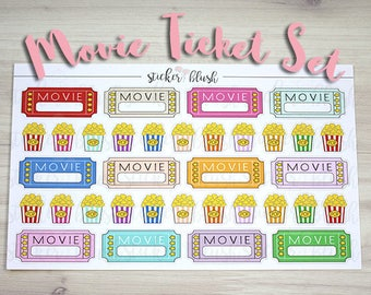 Movie Ticket And Popcorn Planner Stickers Matte or Glossy -  for use with Erin condren planner  - #39